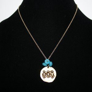 Vintagejelyfish Jewelry - Gold and turquoise NO EVIL necklace